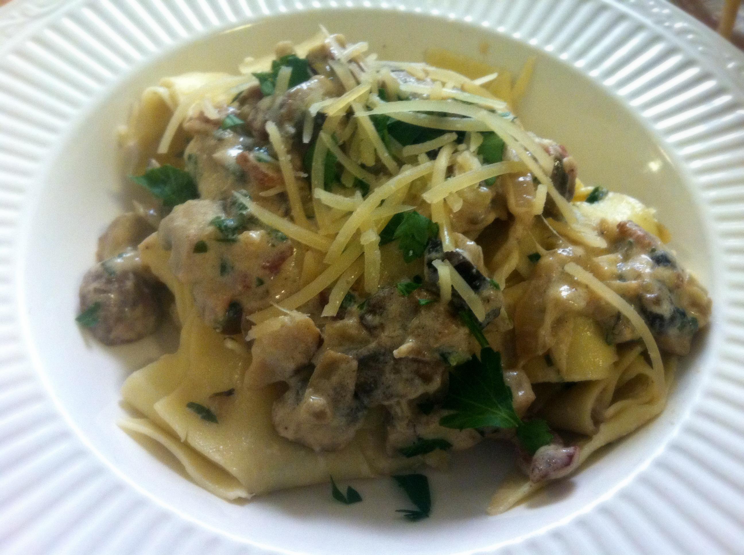 Pasta with Bacon, Mushroom, and Shallot Cream Sauce | Delightful ...